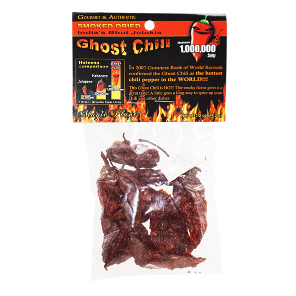 Ghost Pepper Dry Smoked Pods - 1/2oz - 14g (Bhut Jolokia
